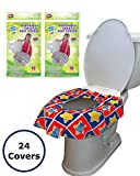 24 Large Disposable Toilet Seat Covers - Portable Potty Seat Covers for Toddlers, Kids, and Adults by Mighty Clean Baby - 2 Packs of 12 Covers: more info