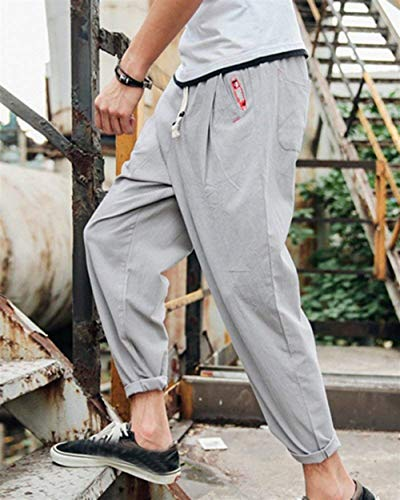 Di Da Casual Uomo Autunno Classiche Hippie Pantaloni Esterno Grau Primavera Larghi Lino Chino Harem Ragazzi Con Coulisse 5qxnEvY