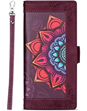 Miagon PU Leather Flip Case for Samsung Galaxy A70,Wallet Cover Flower Design Full Body Protection Bumper with Stand Credit Card Holders Hand Strap,Wine Red