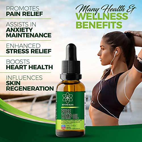 Hemp Oil Drops :: Fast Pain Relief :: Natural Extract :: Anxiety & Stress Relief Supplement :: Organic :: 250mg :: Anti-Inflammatory :: Beyond Bliss :: 30 Days
