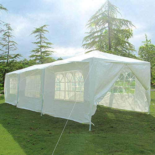 mecor 10'x30' Party Tent Canopy Wedding Tent Event Tent-Outdoor Gazebo w/PE Joint Fittings, Ropes and Stakes, 8 Sidewall 3 Rooms, White