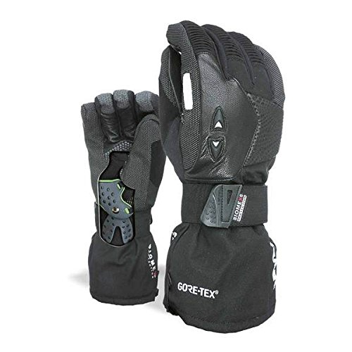 Level Super Pipe Snowboard Gloves with Advanced Wrist Protection (Black, Large (9.0in)) - Black Pipe Glove