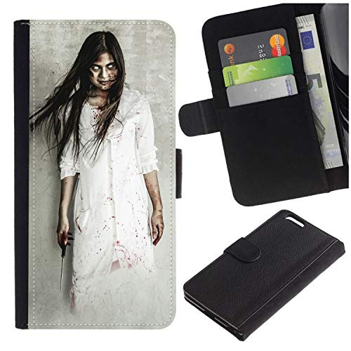 [Halloween Asian Girl Dressed As Killer with Blood with Terrible Eyes] for Samsung Galaxy J3 Emerge J327/J3 Eclipse /J3 Prime/Express Prime 2, Flip Leather Wallet Holsters Pouch Skin Case