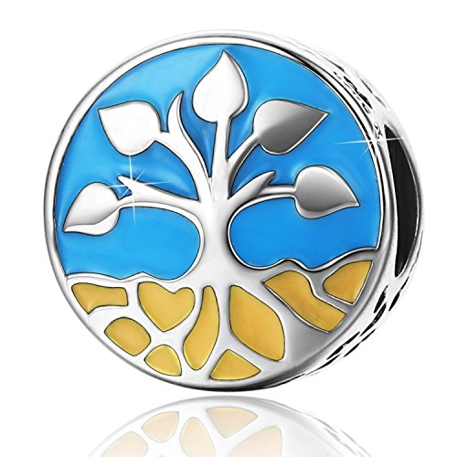 PHOCKSIN Family Tree of Life Bead Charms 925 Sterling Silver Natural Style for Bracelet Mother's Day