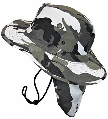 Boonie Bush Safari Outdoor Fishing Hiking Hunting Boating Snap Brim Hat Sun Cap with Neck Flap (City Camo, L)