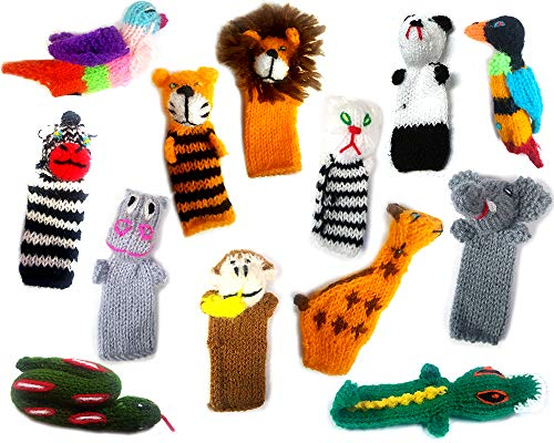 - Handmade Knit Finger Puppet 12 Piece Set Children Kids Toddler School Educational Story Telling Play Time Theme Show Toy - 1 Dozen Assorted Jungle Zoo Animals Wildlife