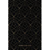 Agenda 2018-2019: Agenda Scolaire de Juillet 2018 à Août 2019, Semainier simple & graphique, motif géométrique noir et or