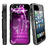 MINITURTLE Clip Armor Advanced Protection Series w/ Built in Kickstand and Holster Belt Clip Combo Case Designed for [ Apple iPhone SE | iPhone 5 | iPhone 5s ] - Hot Purple Butterfly