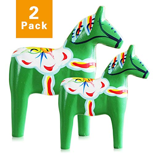 FishMM Set of 2 Europe's Swedish Wooden Dala Horse Figurine, Dalecarlian Horse Ornaments, Color Painting Classical ()