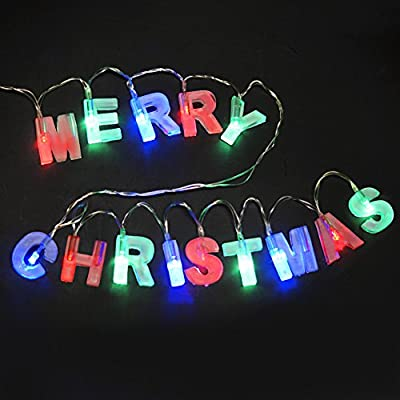 "BRIGHT ZEAL Letter ""MERRY CHRISTMAS"" LED String Lights (1.4"" H Red & Green Letter, 6hr Timer) - Battery Operated Christmas Lights - Xmas Lights Merry Christmas Sign - Christmas Decorations Home Decor"