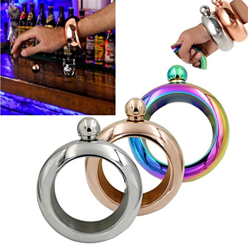SANNYSIS 3.5oz Alcohol Drink Jug, Stainless Steel Jug Bracelet Alcohol Hip Flasks Funnel Bangle Bracelet Bottel