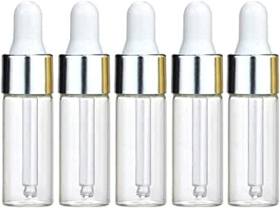 50Pcs 5ML Refillable Clear Glass Essential Oil Bottles Eye Dropper Vials Perfume Cosmetic Liquid Aromatherapy Lotion Sample Storage Containers Jars with Eye Dropper Dispenser, Silver Aluminum Cap