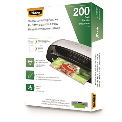Fellowes Laminating Pouches, Letter Size, 5 mil, 200 pack (5743601)