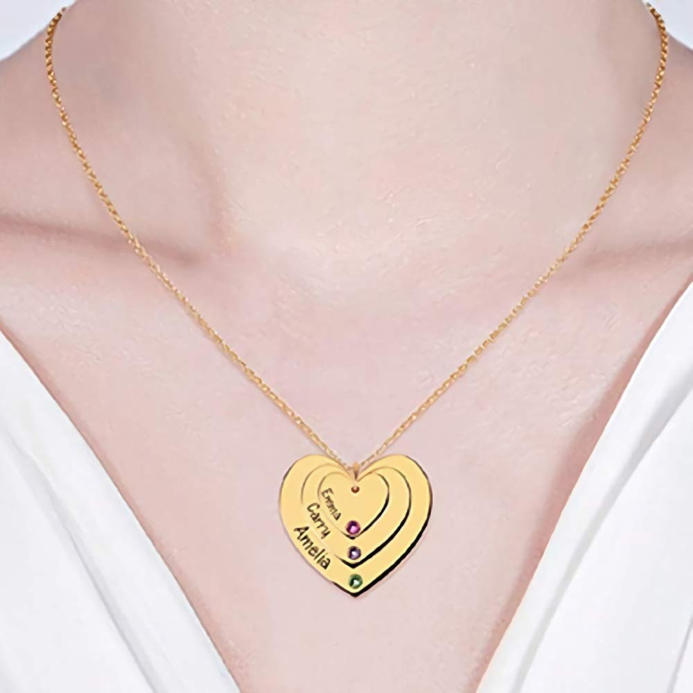 Custom Overlapping Hearts Sterling Silver with 3 Birthstones Pendant and Engraved Names Baofum Personalized Heart Pendant