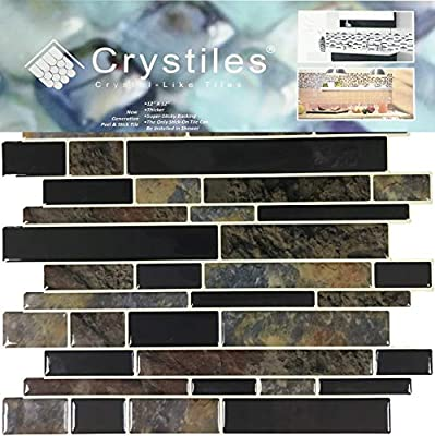 Crystiles 12x12 Vinyl Peel and Stick Backsplash Tile 4-Sheet Pack Grey Granite,Pro Series Thicker Version