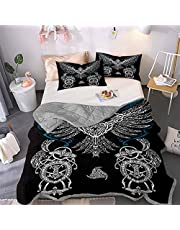 Northern Europe Pirate Viking Myth Printed Bedspread Quilt Set - Quilt and 2 Quilted Pillowcases, All Season Breathable Bedspread Coverlet Bedding Set/Healthy/Soft/Durable