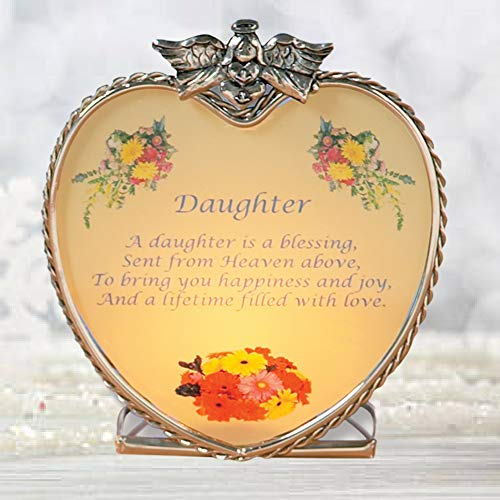 54f6fd4a2f Amazon.com: BANBERRY DESIGNS Daughter Heart Glass Candle Holder with Poem  for Daughter: Home & Kitchen