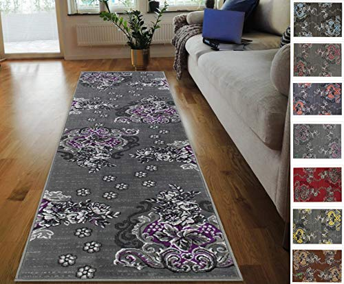 HR-Purple/Grey/Silver/Black/Abstract Area Rug Modern Contemporary Flower/Swirls Pattern (1'96