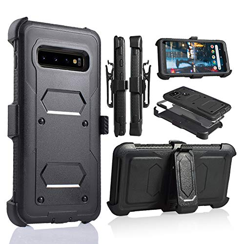 Galaxy S10 Plus Case SM-G975 Full Body Armor Rugged Holster Defender Heavy Duty Hybrid Tough Case with 360 Swivel Belt Clip Kickstand for Samsung Galaxy S10+ Plus 6.4