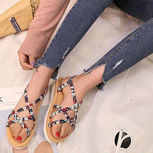 LANDFOX Las mujeres de moda de verano Flip Flops Playa sandalias bandas de cuerda plana zapatos Rojo