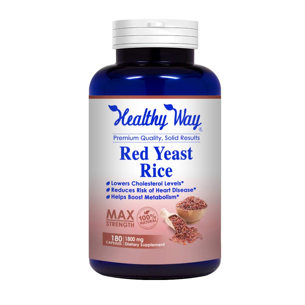 Healthy Way Best Red Yeast Rice 1800mg 180 Capsules (NON-GMO, Gluten Free & Citrinin Free) - Dietary Supplement Powder Pills to Support Cardiovascular Health - USA Made