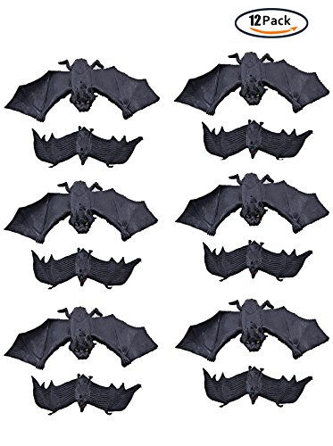 KEFAN 12 Pack Halloween Bats Flying Bats Halloween Decoration Rubber Bats Realistic Flying Bats Spooky Hanging Bats, 2 Sizes