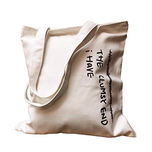 Lona blanco Negro con Bandolera Literary Estampado Bolso de Alfabeto de Negro Queta xwaOPFqpIp