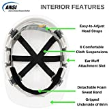 Safety Hard Hat by AMSTON - Adjustable Construction Helmet With 'Keep Cool' Vents, Meets OSHA / ANSI z89.1 Standards, Personal Protective Equipment, Home Improvement, & DIY Projects (White)