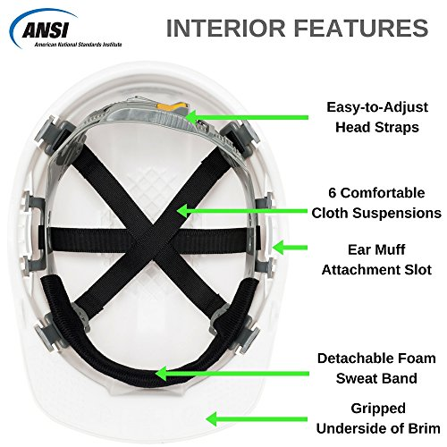Safety Hard Hat by AMSTON - Adjustable Construction Helmet With 'Keep Cool' Vents - Meets OSHA/ANSI z89.1 Standards - Personal Protective Equipment, Home Improvement, DIY (White) by Amston Tool Company (Image #1)