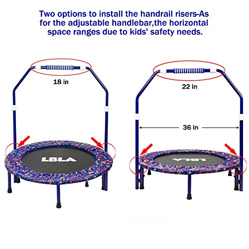 LBLA Kids Trampoline Ladder With Adjustable Handrail And