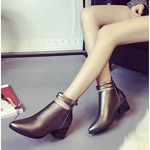 Shoes Ankle for Fall Heel Pointed Casual Black Boots Chunky Women's Boots Booties PU HSXZ Winter Silver Toe Comfort Black ZHZNVX qgZOEE