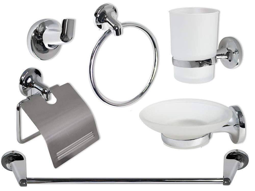 Vetrineinrete Set bagno moderno in acciaio cromato e vetro satinato opaco 6 pezzi accessori arredo bagno 1900 P48 vetrine in rete