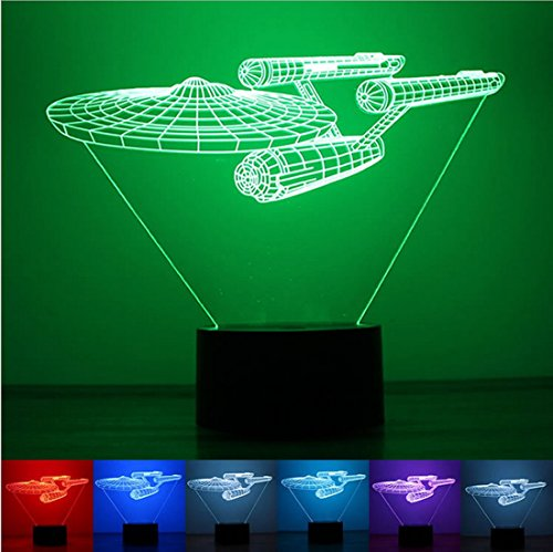 (Rely2016 3D LED Star Trek Starship Illusion Lamp Touch Switch Table Desk Night Light Home Decoration Color Changeable Night Lamp)