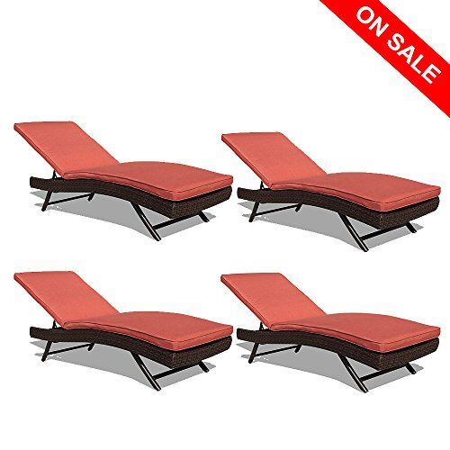 Cheap PATIOROMA Patio Chaise Lounge Chair, Adjustable Pool Rattan Chaise Lounge Chair, Espresso Brown PE Wicker,Steel Frame, 4 Set, Plus 4 Free Pillows