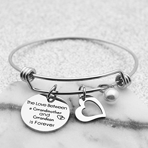 Kingmaruo Grandma Gift The Love Between A Grandmother and Grandson/Granddaughter is Forever Expendable Bangle Bracelet (Grandmother & Grandson) by Kingmaruo (Image #1)