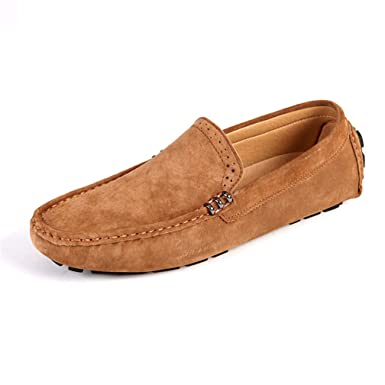 4cf68dbea45 Amazon.com: Suede Leather Moccasins Handmade Driving Brogue Loafers ...