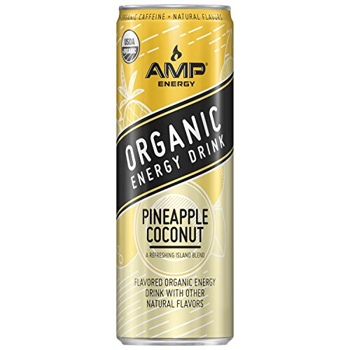 AMP Energy, Organic Energy Drink, Pineapple Coconut, 12 oz Cans (12 Pack)