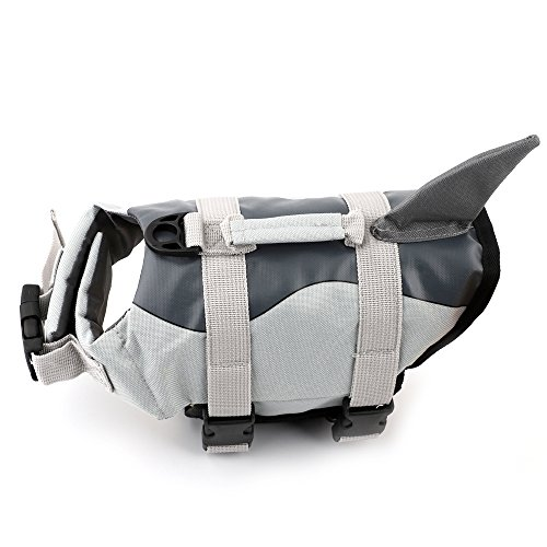 Boknight Dog Life Jackets, Pet Life Vest, Dog Floatation Life Preserver Coat Safety Swimwear with Adjustable Belt for Your Dog (XL, Grey Shark)