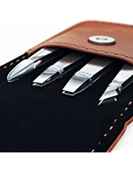 Professional Tweezers Set - 4 Piece Precision Stainless...