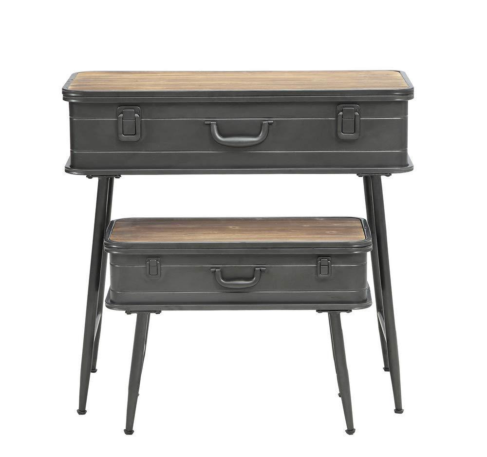 4D Concepts Urban Loft Metal Two Trunk Tables, Rustic Natural Pine by 4D Concepts