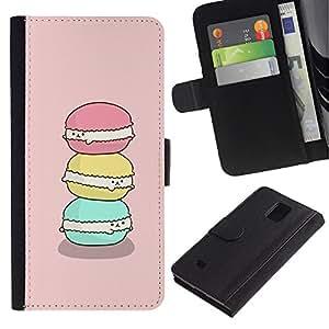 UberTech / Samsung Galaxy Note 4 SM-N910 / Macaroon Happy Green Pink Cute Art / Cuero PU Delgado caso Billetera cubierta Shell Armor Funda Case Cover Wallet Credit Card