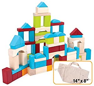 100 Piece Natural Wooden Building Block Set with Carrying Bag by Imagination Generation