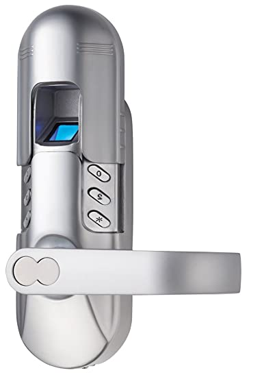 Satin Chrome Right Lever Handle Assa Abloy Digi Weatherproof Electronic Fingerprint Door Lock for Home and Office Use with Keypad 6600-98
