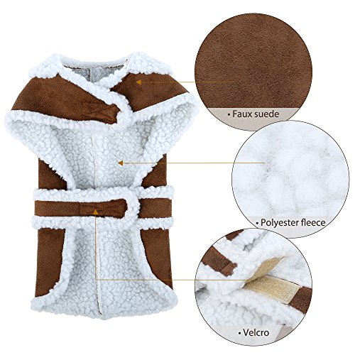EocuSun Pet Clothes for Dogs Winter Coat Cat Dog Vest Warm Jacket Apparel Shearling Fleece Cold Weather Coats for Medium Large Dogs Cats Puppy with Furry Collar by, Brown L by EocuSun (Image #5)