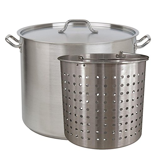 Tiger Chef Heavy-Duty Stainless Steel Stock Pot with Cover and Aluminum Steamer Basket (80 Quart) by Tiger Chef