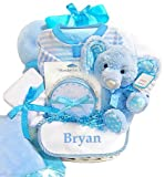 Minky Dots Personalized Baby Boy Gift Basket