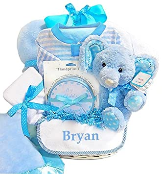 Amazon minky dots personalized baby boy gift basket baby minky dots personalized baby boy gift basket negle Image collections