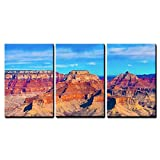 wall26 - 3 Piece Canvas Wall Art - the Beautiful Landscape of Grand Canyon National Park, Arizona - Modern Home Decor Stretched and Framed Ready to Hang - 16''x24''x3 Panels