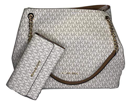 MICHAEL Michael Kors Jet Set Item Large Chain Shoulder Tote bundled with Michael Kors Jet Set Travel Trifold Wallet (Signature MK Vanilla/Acorn)