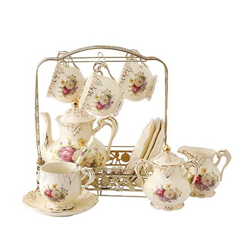 ufengke 11 Piece Creative European Luxury Tea Set, Ivory Porcelain Ceramic Coffee Set With Metal Holder, Hand Painted Red And White Rose Flower, For Wedding Decoration ()